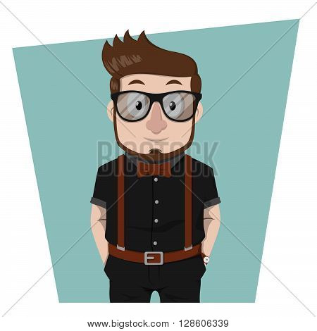 Nerd business man hipster beard style .eps10 editable vector illustration design