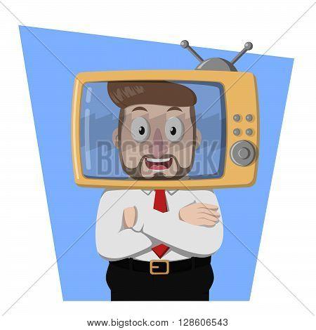 Business man on TV programme .eps10 editable vector illustration design