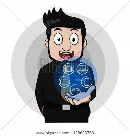 Entrenpreneur man showing digital technology. eps10 editable vecor illustration design