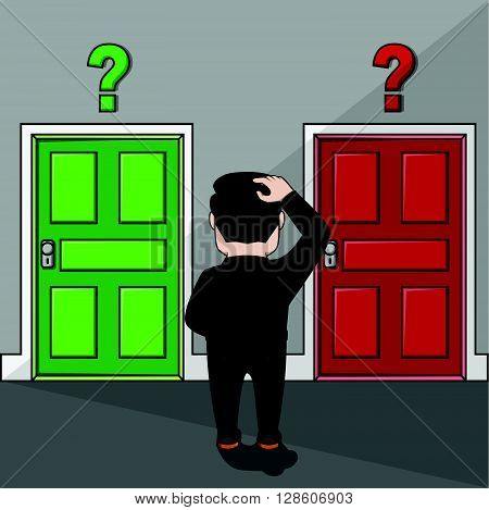 Business man confused to choose a door