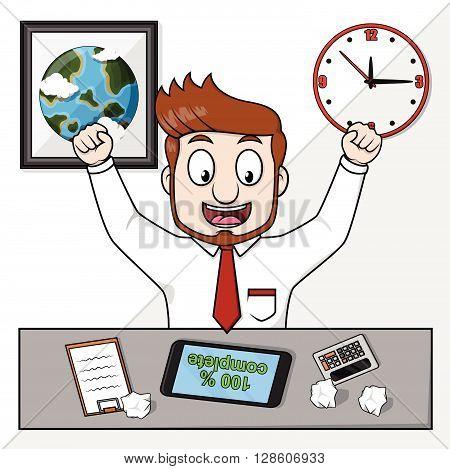 Happy Business man completing his job. eps10 editable vecor illustration design