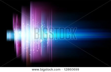 Vector abstract shiny background for design with bright glow and blur rays.