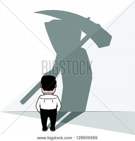 Businesss man with grim reaper shadow. eps10 editable vecor illustration design