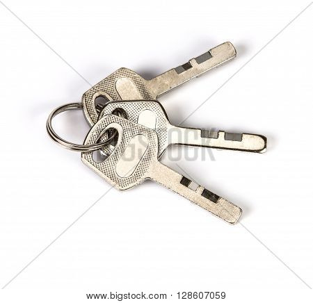 group of the metal keys on white background