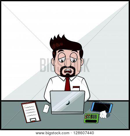 Sleepy diziness business man .eps10 editable vector illustration design