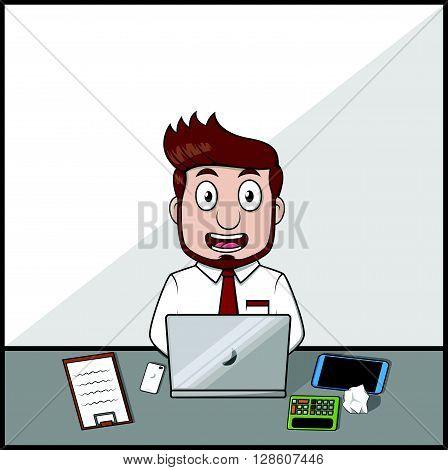 Happy working business man .eps10 editable vector illustration design