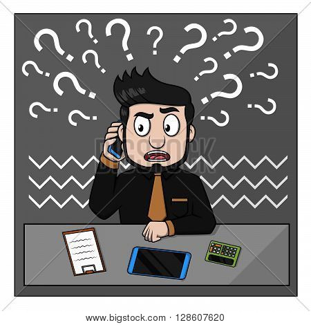 Business man confused phone contact .eps10 editable vector illustration design