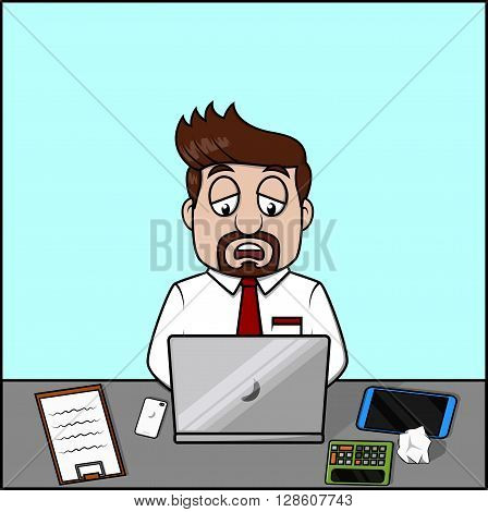 Dizzy employee man .eps10 editable vector illustration design