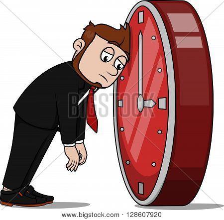 Business man missing time .eps10 editable vector illustration design