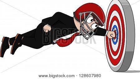Business man using american football helmet carton illustration Business man using american football helmet carton illustration