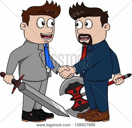 Cooperating business man using weapon Cooperating business man using weapon