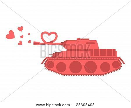 Pink Tank Of Love. Shot Heart. Peace Military Equipment. Army Bomb For Lovers. Curved Barrel