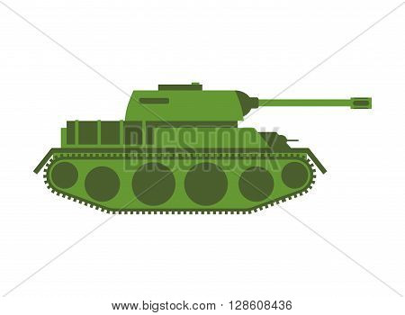 Tank Isolated. Military Equipment On White Background, Armored Combat Vehicle, Tracked With Cannon A