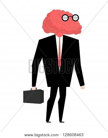Businessman Brain Genius. Very Clever Manager. Brain Wearing Glasses. Witted Person. Wiseacre With S