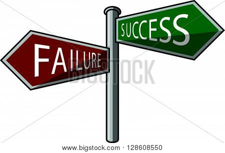 success or failure signpost .eps10 editable vector illustration design