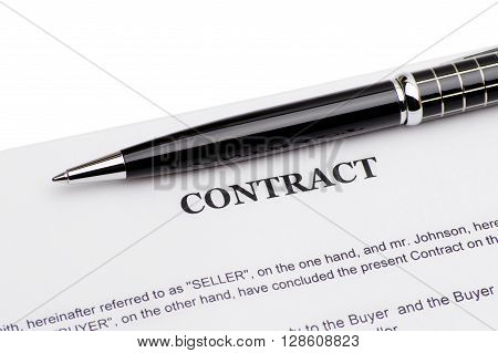 Pen on contract Isolated On White Background
