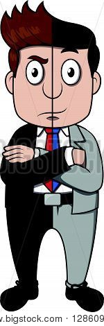 good or bad businessman .eps10 editable vector illustration design