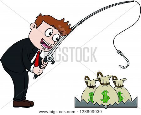 Business man fishing the money from trap .eps10 editable vector illustration design