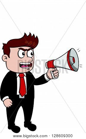 Business man mega phone .eps10 editable vector illustration design