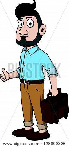 Business man beard thumb up .eps10 editable vector illustration design