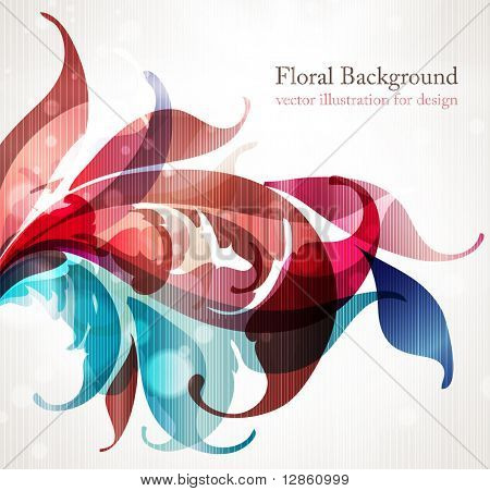 Floral design elements. Flower abstract background for design with scroll leafs. Vector. eps 10.