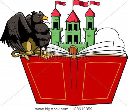 Griffin book story and castle illustration .eps10 editable vector illustration design
