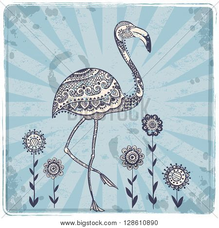 Vector tribal Flamingo bird with ethnic ornaments