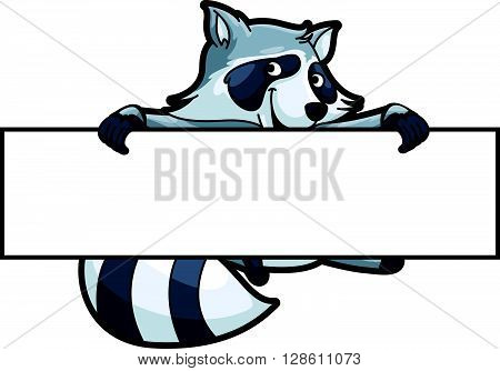 Racoon illustration with blank banner .eps10 editable vector illustration design