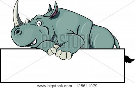 Rhinoceros illustration with blank banner .eps10 editable vector illustration design