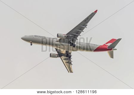 Sydney Australia - November 10 2014: The Airbus A330-200 Qantas