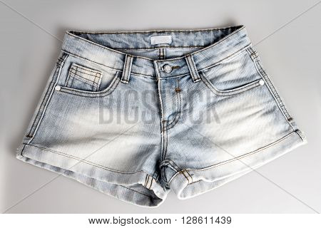 close up the light blue short jean pants