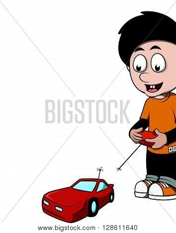 Boy playing rc car cartoon illustration .eps10 editable vector illustration design
