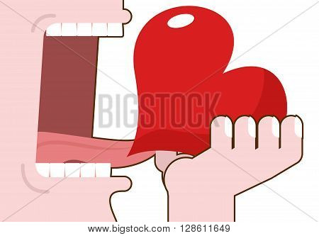Man Eats Love. Destruction Of Romantic Relationship. Open Mouth With Tongue And Teeth. Consumption O