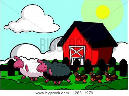 Farm house scenery duck,horse and sheep .eps10 editable vector illustration design