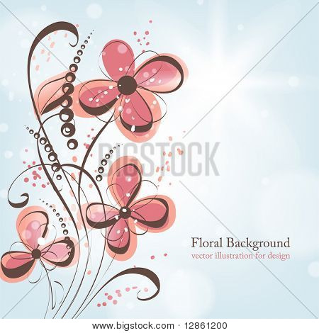 Retro floral background with abstract leafs and flowers for vintage design. eps 10