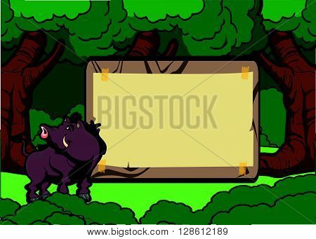 Wild boar forest scene with wood banner .eps10 editable vector illustration design