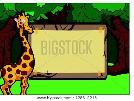 Girafe forest scene with wood banner .eps10 editable vector illustration design