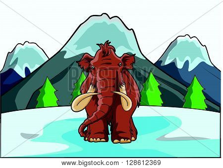 mamoth at ice mountain .eps10 editable vector illustration design