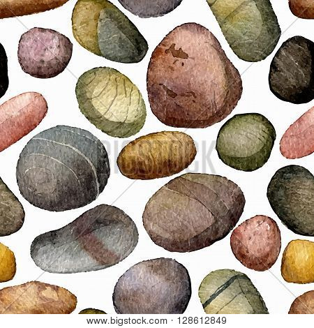 vector seamless pattern with sea stones drawing in watercolor, pebbles at white background, hand drawn vector watercolor background