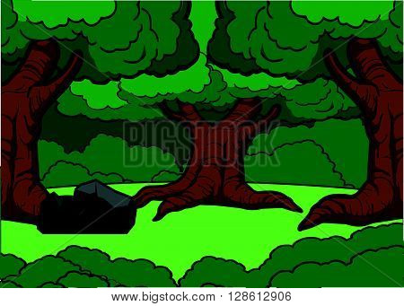 Forest scenery illustration design .eps10 editable vector illustration design