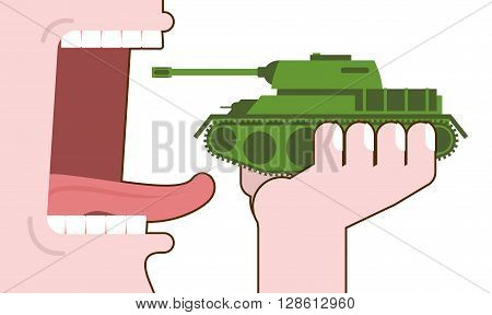 Man Eating Tank. Destruction Of Military Transport. Open Mouth With Tongue And Teeth. Consumption Of