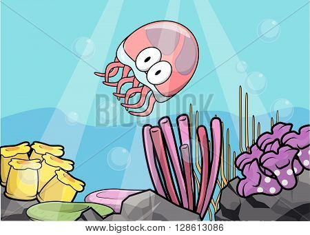 Jelly fish,eel and crab Underwater scenery with white banner .eps10 editable vector illustration design
