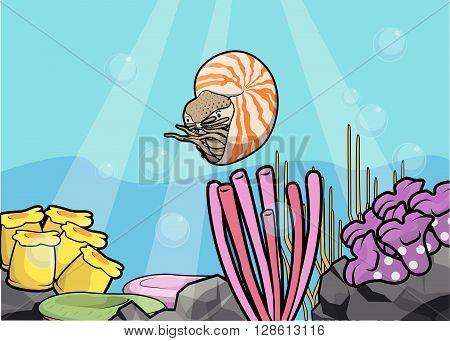 Nutilus underwater scenery illustration .eps10 editable vector illustration design