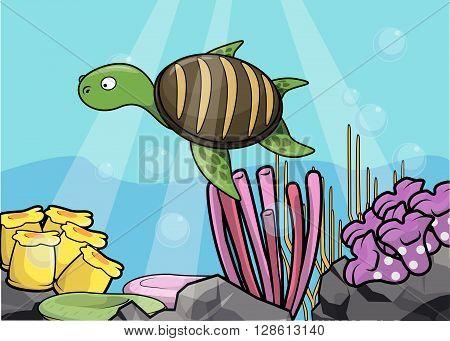 Sea turtle underwater scenery .eps10 editable vector illustration design