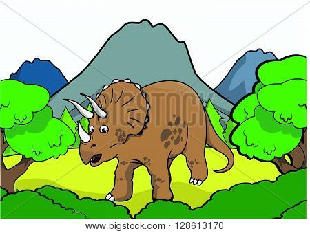 triceratop Prehistoric scene illustration .eps10 editable vector illustration design