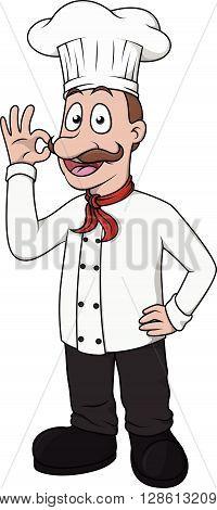 Chef bon appetit cartoon .eps10 editable vector illustration design