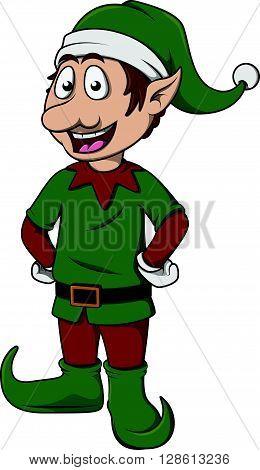 christmass elf cute cartoon posing .eps10 editable vector illustration design