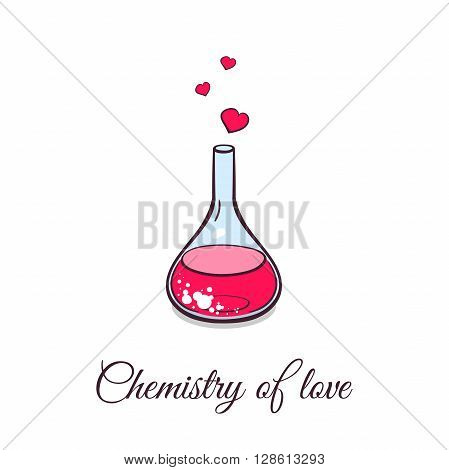 Hand drawn pink beaker with hearts on white background. Chemistry of love. Vector illustration.
