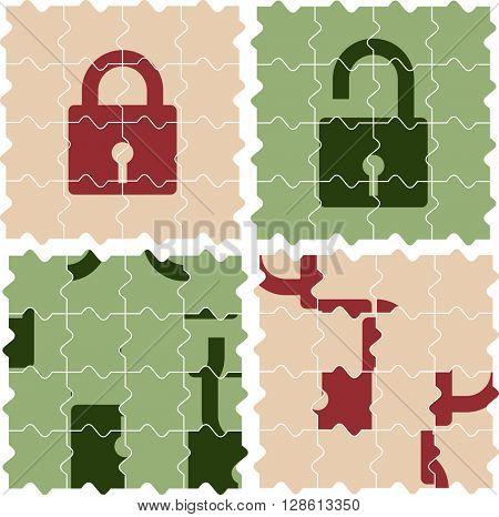 Puzzle Pieces Lock Unlock Set raster Illustration