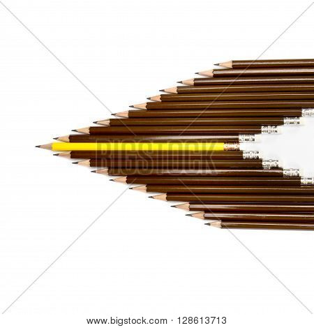 the wooden pencil arrange as head of arrow with one different as a symbol of difference concept